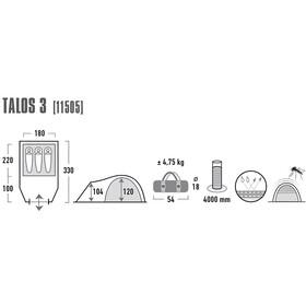 High Peak Talos 3 Tiendas de campaña, dark grey/green